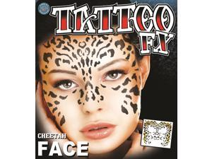 Tinsley Transfers Cheetah Face Temporary Tattoo FX Face Kit, Black