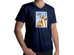 Men's Calvin and Hobbes Stamp Cool Awesome Funny Photobomb 100% Cotton V-Neck T-Shirt