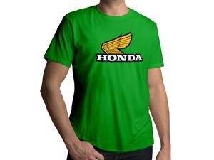 Men's Retro 1970s Honda Motorcycles Emblem Logo 100% Cotton Crew Neck T-Shirt