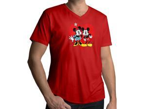 Men's Disney Mickey and Minnie Mouse 100% Cotton V-Neck T-Shirt