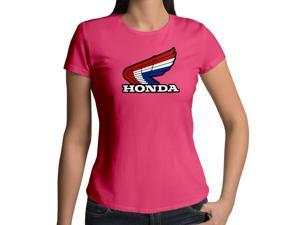 Women's Retro 1980s Honda Motorcycles Emblem Logo 100% Cotton Crew Neck T-Shirt