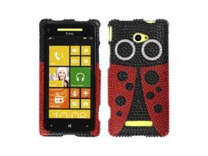 NextKin Red Ladybug With Full Crystal Bling Stones Plastic Hard Cover Case for HTC Windows Phone 8X Zenith 6990