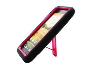 Armor Hybrid Black/Hot Pink With Vertical Stand Protective Hard Skin Case Cover for HTC EVO One 4G LTE