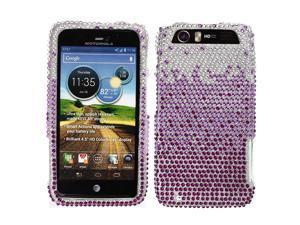 Large Waterfall Purple With Full Crystal Bling Stones Plastic Hard Cover Case for Motorola Atrix 3 Dinara HD MB886