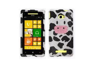 HTC Windows Phone 8X Zenith 6990 Hard Case Cover - Moo Moo Cow With Full Rhinestones