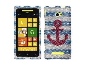 HTC Windows Phone 8X Zenith 6990 Hard Case Cover - Pink Anchor On Teal White With Full Rhinestones