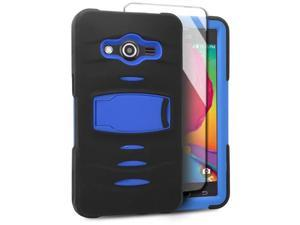 Samsung Galaxy Avant G386T Hard Cover and Silicone Protective Case - Hybrid Black/ Blue With Stand
