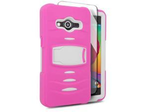 Samsung Galaxy Avant G386T Hard Cover and Silicone Protective Case - Hybrid Hot Pink/ White With Stand
