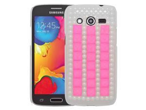 Samsung Galaxy Avant G386T Back Cover Case - 3D Pink/Pearl White Full Rhinestones