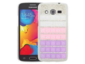 Samsung Galaxy Avant G386T Back Cover Case - 3D Purple/Pink/White With Full Rhinestones
