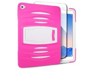 Apple iPad Air 2 Hard Cover and Silicone Protective Case - Hybrid Hot Pink/ White With Stand