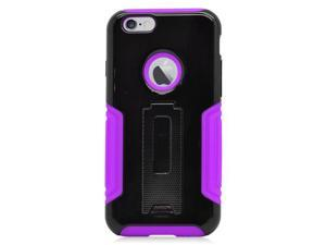 Apple iPhone 6 4.7 inch Hard Cover and Silicone Protective Case - Hybrid Black/Purple w/ Stand