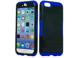 Apple iPhone 6 4.7 inch Hard Cover and Silicone Protective Case - Hybrid Black/Blue Infuse Prime w/ Black Stand