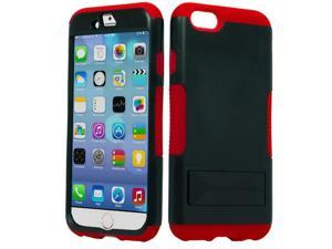Apple iPhone 6 4.7 inch Hard Cover and Silicone Protective Case - Hybrid Black/Red Infuse Prime w/ Black Stand