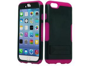 Apple iPhone 6 4.7 inch Hard Cover and Silicone Protective Case - Hybrid Black/Hot Pink Infuse Prime w/ Black Stand