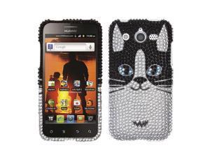 Huawei Mercury M886 Hard Case Cover - Cat Face With Full Rhinestones