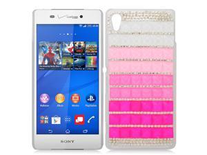 Sony Xperia Z3v Back Cover Case - 3D White/Pink/Hot Pink With Full Rhinestones