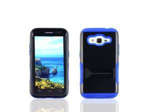 Samsung Galaxy Core Prime G360 Hard Cover and Silicone Protective Case - Hybrid Black/Blue Infuse Prime w/ Black Stand
