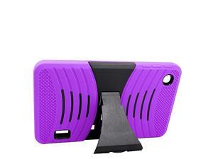 Alcatel OneTouch POP 7 Hard Cover and Silicone Protective Case - Hybrid Purple/Black w/ Stand