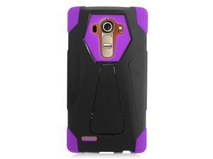 LG G4 Hard Cover and Silicone Protective Case - Hybrid Black/ Purple Transformer With Stand