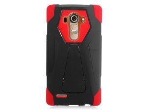 LG G4 Hard Cover and Silicone Protective Case - Hybrid Black/ Red Transformer With Stand
