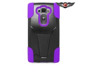 LG G Flex 2 LS996 Hard Cover and Silicone Protective Case - Hybrid Black/Purple w/ Y Stand
