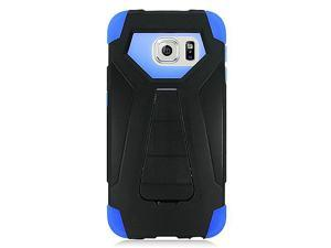 Samsung Galaxy S6 Edge G925 Hard Cover and Silicone Protective Case - Hybrid Black/ Blue Transformer With Stand