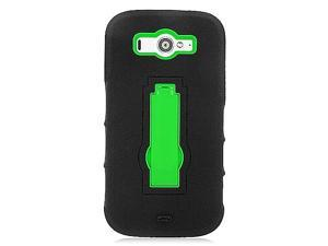ZTE Imperial II Hard Cover and Silicone Protective Case - Hybrid Black/ Green Symbiosis With Vertical Stand (New)