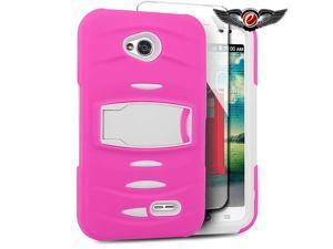 LG Optimus L70 MS323 Hard Cover and Silicone Protective Case - Armor Hybrid Hot Pink/White w/ Vertical Stand