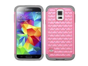 Pink/Gray Bling Rhinestone Impact/Silicone Protector Case for Samsung Galaxy S 5