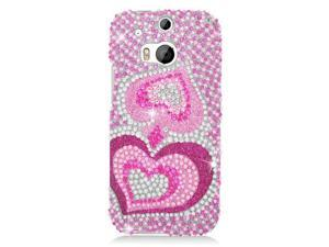 HTC One 2 M8 Hard Case Cover - Pink Silver Heart w/ Full Rhinestones