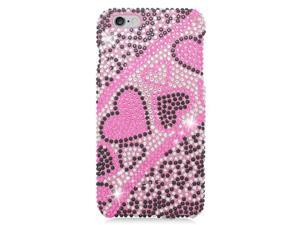 Apple iPhone 6 plus 5.5 inch Hard Case Cover - Black/Pink Heart w/ Full Rhinestones