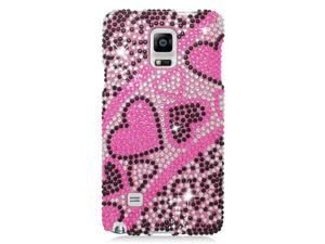 Samsung Galaxy Note 4 Hard Case Cover - Black/Pink Heart w/ Full Rhinestones