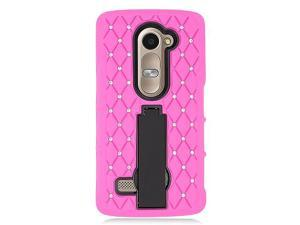 LG Leon C40 Hard Cover and Silicone Protective Case - Hybrid Hot Pink/ Black Symbiosis Stand With Some Rhinestones (New)