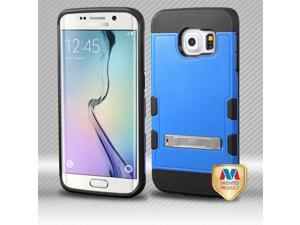 Samsung Galaxy S6 Edge G925 Hard Cover and Silicone Protective Case - Hybrid Natural Dark Blue/ Black TUFF Trooper With Metal Stand