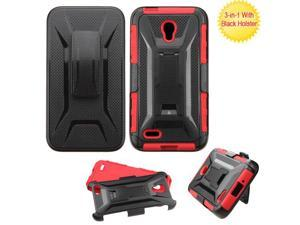 Alcatel OneTouch Conquest 7046T Hard Cover and Silicone Protective Case - Hybrid Black/ Red Vent Armor Stand  With Holster