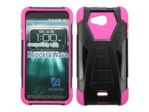 Kyocera Hydro Wave C6740 Hard Cover and Silicone Protective Case - Hybrid Black/ Hot Pink Transformer With Stand