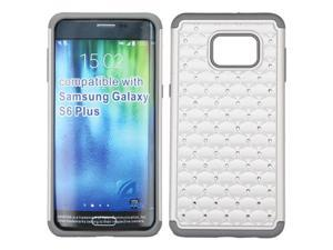Samsung Galaxy S6 Edge Plus G928 Hard Cover and Silicone Protective Case - Hybrid Pearl White/ Gray Luxurious Lattice Dazzling With Some Rhinestones
