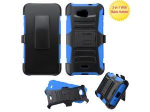 Kyocera Hydro Wave C6740 Hard Cover and Silicone Protective Case - Hybrid Black/Blue Curve Stand w/ Holster