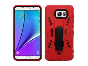 For Galaxy Note 5 Black/Red Symbiosis Cover +Kick Stand Protector Case