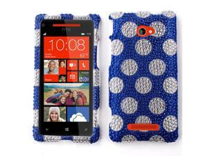 HTC Windows Phone 8X Zenith 6990 Hard Case Cover - Blue Dots With Full Rhinestones