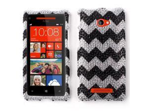 HTC Windows Phone 8X Zenith 6990 Hard Case Cover - Black Chevron Zig Zag Pattern With Full Rhinestones