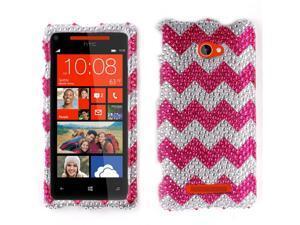 HTC Windows Phone 8X Zenith 6990 Hard Case Cover - Hot Pink Chevron Zig Zag Pattern With Full Rhinestones