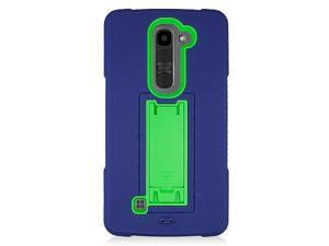LG G4c Mini Compact H525N Hard Cover and Silicone Protective Case - Hybrid Blue/ Green Dual With Vertical Stand