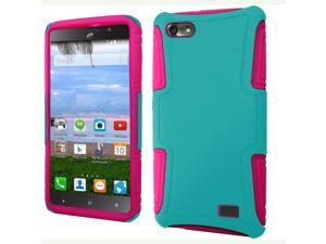 Huawei Raven LTE H892L Hard Cover and Silicone Protective Case - Hybrid Teal/ Hot Pink Slim Dual Layer