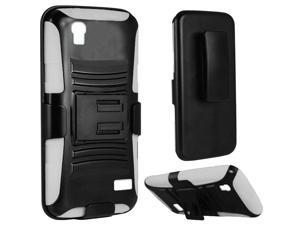 Huawei SnapTo LTE G620 Pronto H891L Hard Cover and Silicone Protective Case - Hybrid Black/White Curve Stand w/ Holster