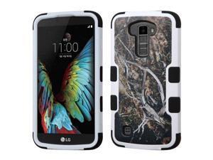 LG K10 Premier LTE L62VL L61AL K428 K430 K420 K420N Hard Cover and Silicone Protective Case - Hybrid Yellow Black Vine/ Black Tuff