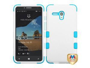 Alcatel Onetouch Fierce XL 5054 Hard Cover and Silicone Protective Case - Hybrid Triad Natural Ivory White/ Tropical Teal Tuff
