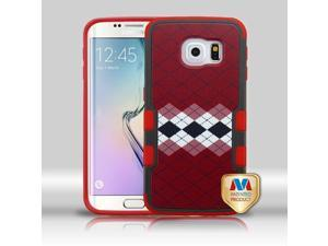 Samsung Galaxy S6 Edge G925 Hard Cover and Silicone Protective Case - Hybrid Modern Argyle/ Red TUFF Merge