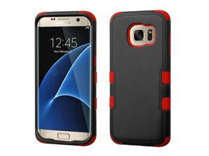 Samsung Galaxy S7 Edge G935 Hard Cover and Silicone Protective Case - Hybrid Triad Natural Black/ Red Tuff